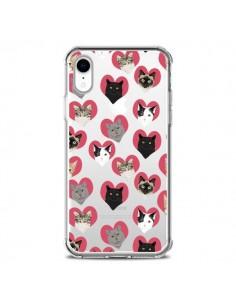 Coque iPhone XR Chats Coeurs Transparente souple - Pet Friendly