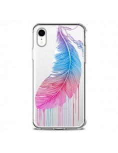 Coque iPhone XR Plume Feather Arc en Ciel Transparente souple - Rachel Caldwell