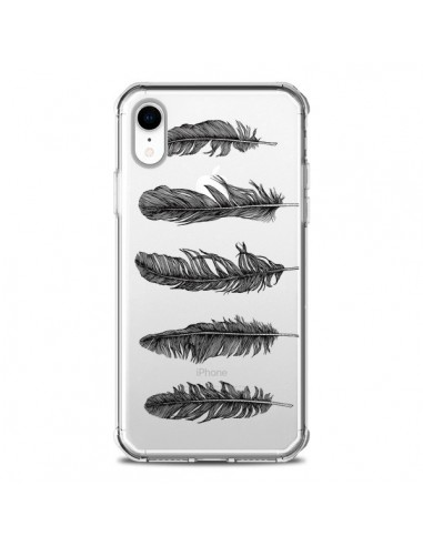 Coque iPhone XR Plume Feather Noir...