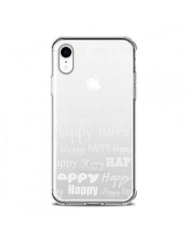 Coque iPhone XR Happy Happy Blanc...