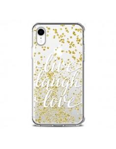 Coque iPhone XR Live, Laugh, Love, Vie, Ris, Aime Transparente souple - Sylvia Cook