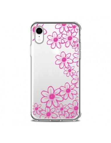 Coque iPhone XR Pink Flowers Fleurs...