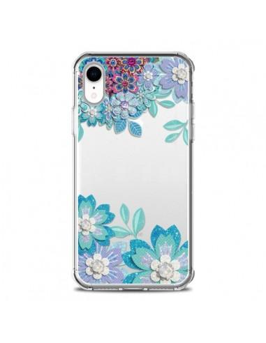 Coque iPhone XR Winter Flower Bleu,...