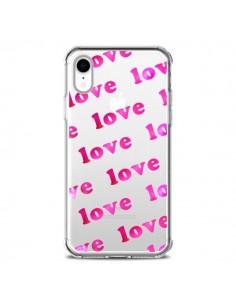 Coque iPhone XR Pink Love Rose Transparente souple - Sylvia Cook