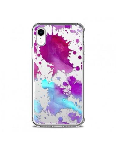 Coque iPhone XR Watercolor Splash Taches Bleu Violet Transparente souple - Sylvia Cook