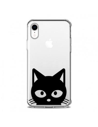Coque iPhone XR Tête Chat Noir Cat...