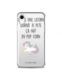 Coque iPhone XR Je suis une licorne, quand je pète ça fait du pop corn Transparente souple - Les Vilaines Filles