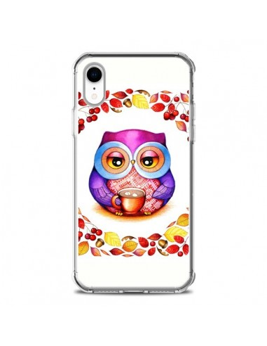 Coque iPhone XR Chouette Automne -...