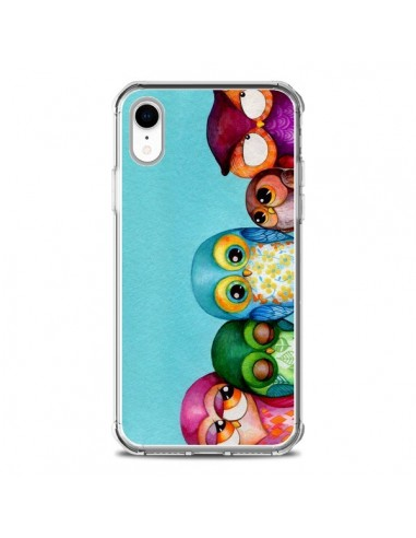 Coque iPhone XR Famille Chouettes -...