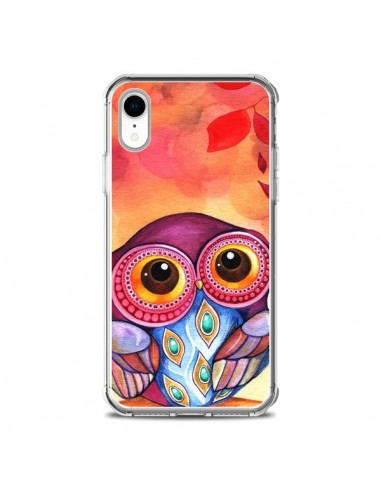 Coque iPhone XR Chouette Feuilles...