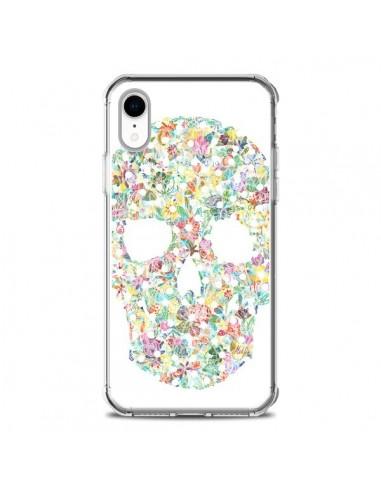 Coque iPhone XR Flower Skull Tête de...