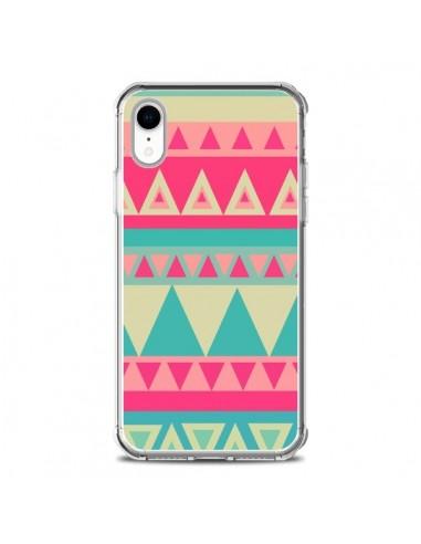 Coque iPhone XR Azteque Rose Vert -...