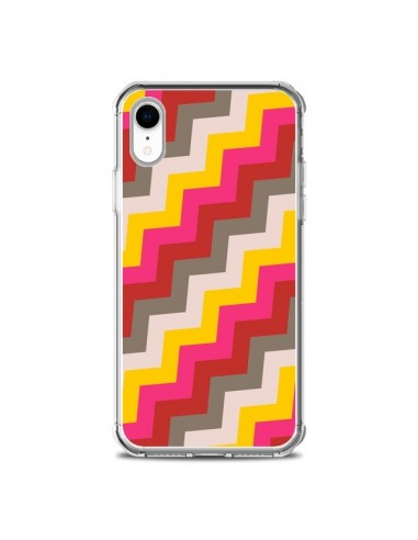 Coque iPhone XR Lignes Triangle Azteque Rose Rouge - Eleaxart