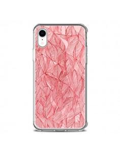 Coque iPhone XR Courbes Meandre Rouge Cerise - Léa Clément