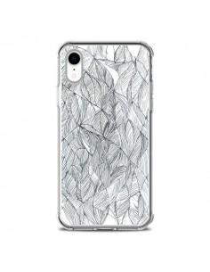 Coque iPhone XR Courbes Meandre Blanc Noir - Léa Clément