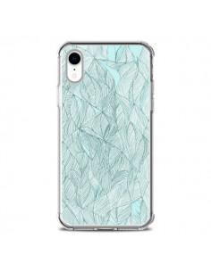 Coque iPhone XR Courbes Meandre Bleu Vert Nuageux - Léa Clément