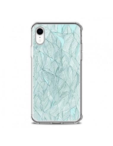 Coque iPhone XR Courbes Meandre Bleu...