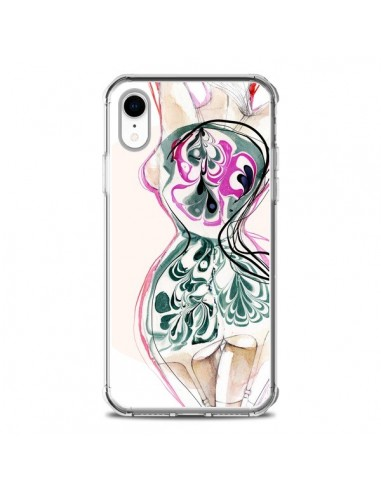 Coque iPhone XR Femme en fleurs -...