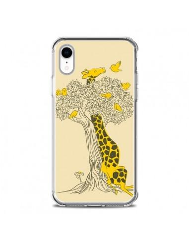 Coque iPhone XR Girafe Amis Oiseaux -...