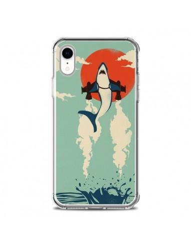 Coque iPhone XR Requin Avion Volant -...