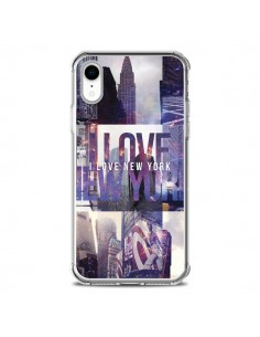 Coque iPhone XR I love New Yorck City violet - Javier Martinez