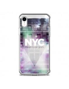 Coque iPhone XR I Love New York City Violet Vert - Javier Martinez