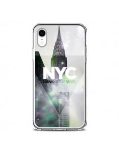 Coque iPhone XR I Love New York City Gris Violet Vert - Javier Martinez