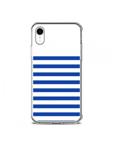 Coque iPhone XR Mariniere Bleu -...