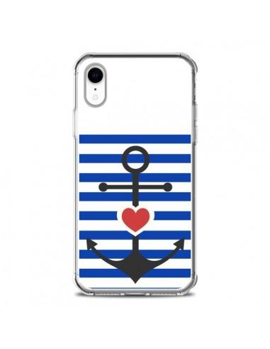 Coque iPhone XR Mariniere Encre Marin...