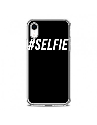 Coque iPhone XR Hashtag Selfie Blanc...
