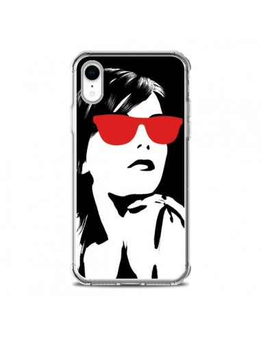 Coque iPhone XR Fille Lunettes Rouges...