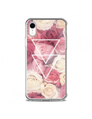 Coque iPhone XR Roses Triangles...
