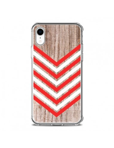 Coque iPhone XR Tribal Aztèque Bois Wood Flèche Rouge Blanc - Laetitia