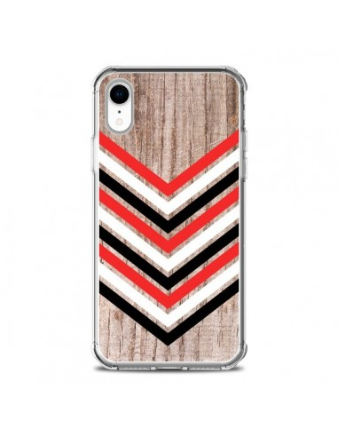 Coque iPhone XR Tribal Aztèque Bois Wood Flèche Rouge Blanc Noir - Laetitia