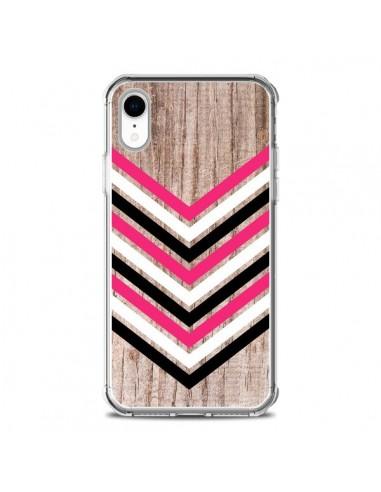 Coque iPhone XR Tribal Aztèque Bois Wood Flèche Rose Blanc Noir - Laetitia