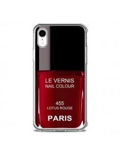 Coque iPhone XR Vernis Paris Lotus Rouge - Laetitia