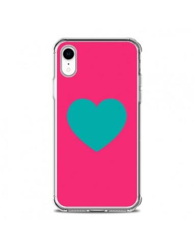 Coque iPhone XR Coeur Bleu Fond Rose...