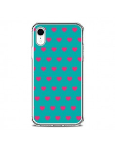 Coque iPhone XR Coeurs Roses Fond Bleu - Laetitia