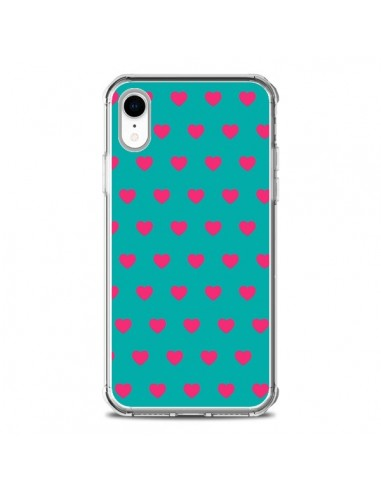 Coque iPhone XR Coeurs Roses Fond...