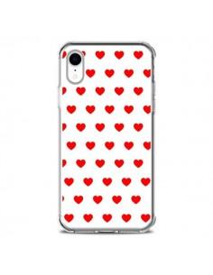 Coque iPhone XR Coeurs Rouges Fond Blanc - Laetitia