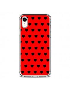 Coque iPhone XR Coeurs Noirs Fond Rouge - Laetitia
