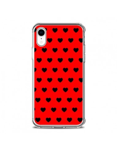 Coque iPhone XR Coeurs Noirs Fond...