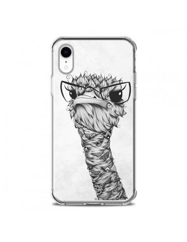 Coque iPhone XR Ostrich Autruche Noir...