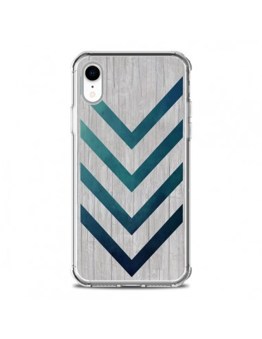 Coque iPhone XR Blue Arrow Wood...