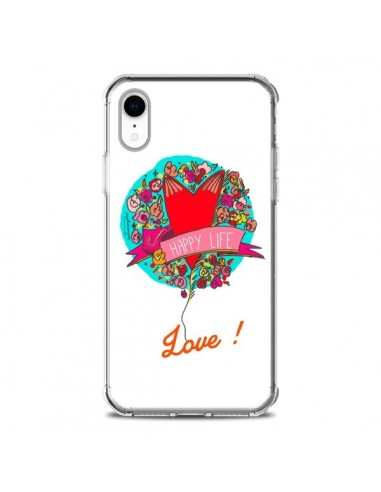 Coque iPhone XR Love Happy Life -...