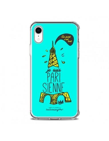 Coque iPhone XR Je suis Parisienne La Tour Eiffel Bleu - Leellouebrigitte
