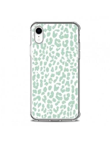 Coque iPhone XR Leopard Menthe Mint -...