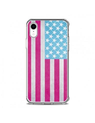 Coque iPhone XR Drapeau USA Vintage -...