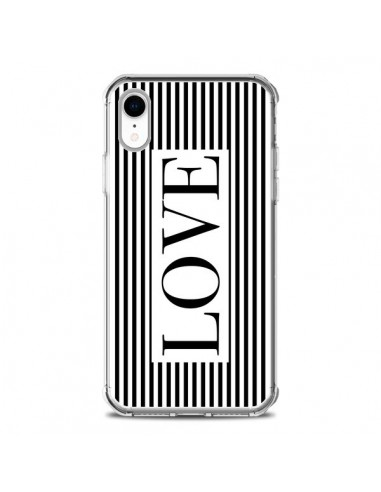Coque iPhone XR Love Noir et Blanc -...