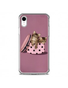 Coque iPhone XR Chaton Chat Kitten Boite Pois - Maryline Cazenave